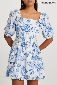 River Island Blue Floral Puffball Belted Mini Dress