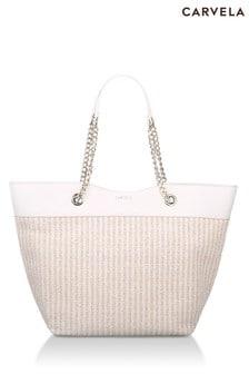 Carvela Cream Lucia Raffia Shopper Bag