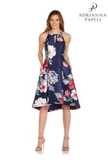 Adrianna Papell Blue Printed Mikado High Low Dress