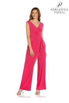 Adrianna Papell Pink Jersey Draped Jumpsuit