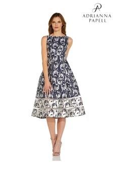 Adrianna Papell Blue Reverse Jacquard Midi Dress