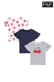 F&F Cherry Stripe T-Shirts 3 Pack