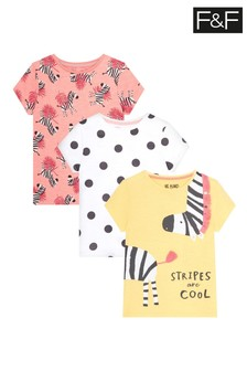 F&F Zebra Jersey Tops 3 Pack