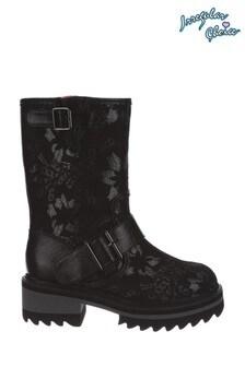 Irregular Choice Black Autumn Leaves Pull On Boots