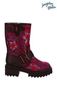 Irregular Choice Purple Autumn Leaves Pull-on Boots