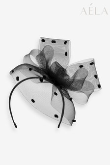 Aela Black Spotted Bow Detail Fascinator