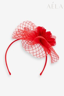 Aela Red Floral Crinkle Fascinator