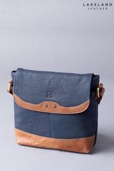 Lakeland Leather Hartsop Flapover Navy Leather Cross Body Bag