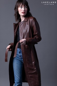 Lakeland Leather Tarraby Pecan Leather Trench Coat