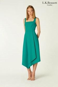 L.K.Bennett Green Geneive Sleeveless Fluid Skirted Dress