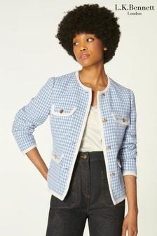 L.K.Bennett Blue Valentina Tweed Jacket With Trims
