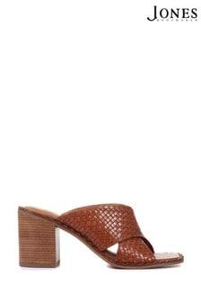 Jones Bootmaker Tan Danika Ladies Block Heeled Mules Sandals