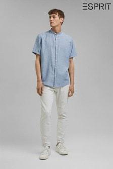 Esprit Blue Short Sleeve Linen Blend Shirt