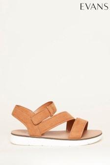 Evans Brown Cross Strap Sporty Sandals