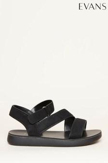 Evans Black Cross Strap Sporty Sandals