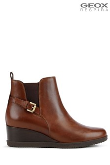 Geox Brown D Anylla Wedge Boots