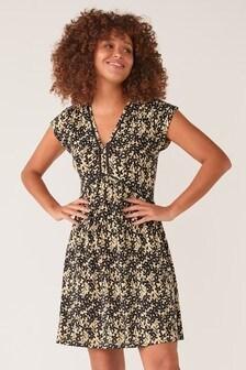 Ochre Yellow Ditsy Print Lace Insert Dress