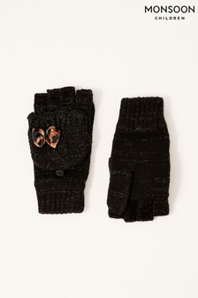 Monsoon Black Leopard Bow Sparkle Capped Gloves