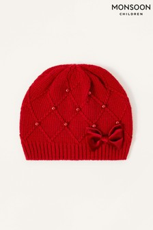 Monsoon Red Ruby Pearl and Bow Beanie
