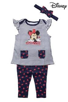 Disney Minnie Mouse Navy 3 Piece Top, Legging & Headband Set