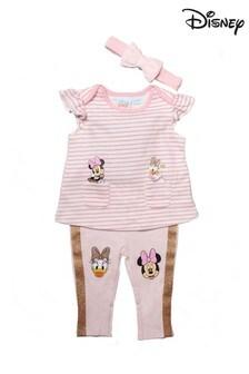 Disney Minnie & Daisy Pink 3 Piece Top, Legging & Headband Set