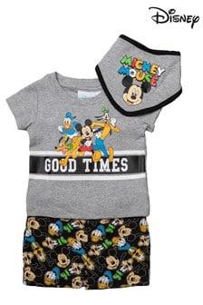 Disney Mickey & Friends Grey Marl 3 Piece T-Shirt, Short & Bib Set