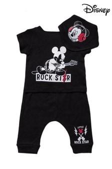 Disney Mickey Mouse Black 3 Piece T-Shirt, Shorts & Bib Set