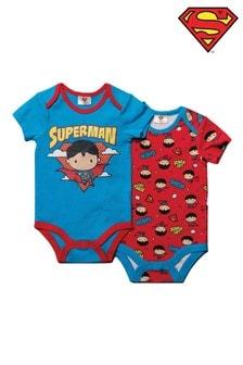 Superman Red and Blue Short Sleeved Bodysuit 2 Pack Set