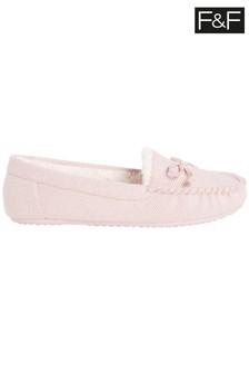 F&F Pink Moccasin Herringbone Slippers