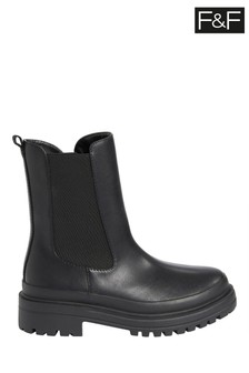 F&F Black Chunky Mid Calf Boots