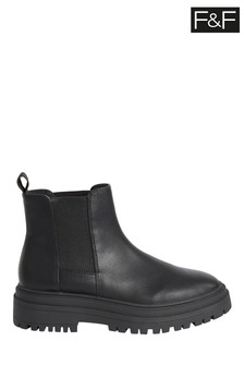 F&F Chunky Chelsea PU Black Boots