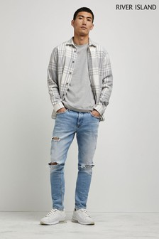 River Island Light Blue Skinny Busted Knee Ripped Jeans