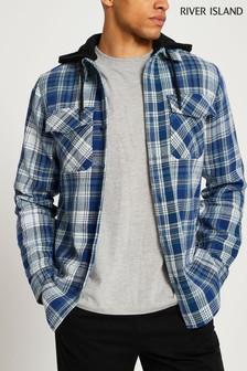 River Island Blue/Mint Check Hooded Shirt