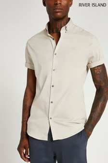 River Island Stone Light RR Embroidered Muscle Shirt
