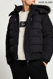 River Island Black Short Faux Fur Trim Puffer Jacket