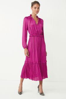 Pink Satin Tie Neck Midi Dress