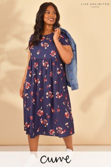 LIVE Curve Navy Floral Sustainable Viscose Midi Dress
