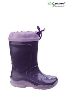 Cotswold Purple Splash Slip on Childrens Wellingtons