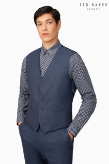 Ted Baker Airforce Blue Flannel Reg Waistcoat