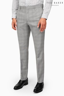 Ted Baker Lt Grey Blue Check Slim Suit Trousers