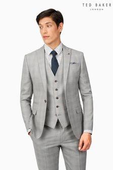Ted Baker Lt Grey Blue Check Slim Suit: Jacket