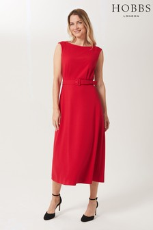 Hobbs Red Eloise Crepe Dress