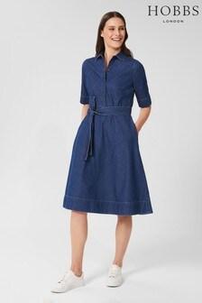 Hobbs Blue Fern Denim Dress
