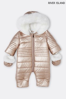 River Island Pink Rose Gold Quilted Snowsuit