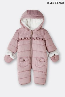 River Island Light Pink Logo Quilted Snowsuit