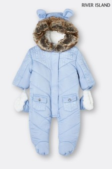 River Island Blue Light Logo Quilted Snowsuit