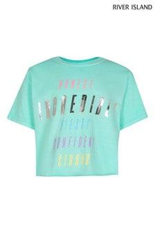 River Island Green Graphic Crop T-Shirt