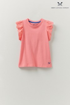 Crew Clothing Company Pink Broderie Sleeve T-Shirt