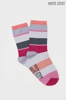 White Stuff Pink Cecilia Block Stripe Socks