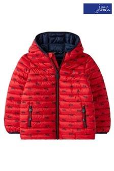 Joules Red Cairn Showerproof Recycled Packable Printed Jacket